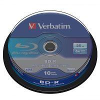 25GB Verbatim BD-R SL, cake box, 43742, 6x, 10-pack