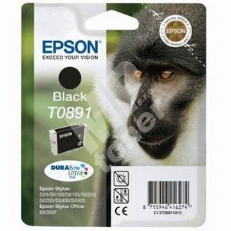Inkoustová cartridge Epson C13T08914010, Stylus S20/SX100/SX200/SX400, černá, originál