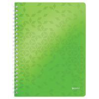 Blok na psaní Leitz WOW A4, linkovaný, drátěná vazba s PP deskami, zelený