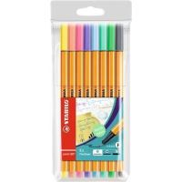 Linery STABILO Point 88, 0,4mm, sada, 8 různých pastelových barev