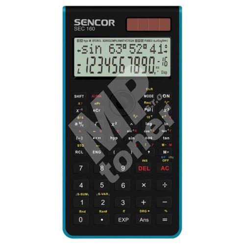 Sencor kalkulačka, SEC 160 BU, modrá, školní, dvanáctimístná 1