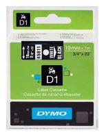 Páska Dymo D1 19 mm x 7m, bílý tisk/černý podklad, 45811, S0720910