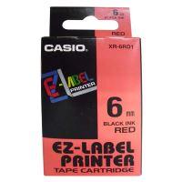 Páska do tiskárny štítků Casio XR-6RD1 6mm černý tisk/červený podklad originál