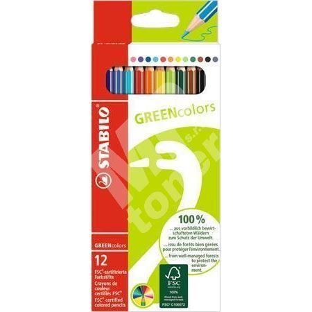 Barevné pastelky GreenColours, 12ks, šestihranné, STABILO 1
