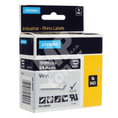 Páska Dymo Rhino 19mm x 5,5m, bílý tisk/černý podklad, 1805436, vinylová profi 1