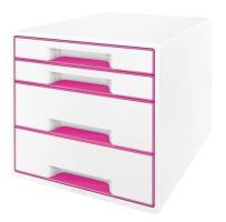 Zásuvkový box Leitz WOW, 4 zásuvky, růžový