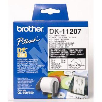 Etikety na CD Brother 58mm, bílá, filmová role, 100 ks, DK11207 1