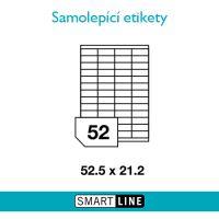 Samolepící bílé etikety Smart Line A4 52,5 x 21,2 mm 100 archů