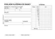 Pokladní složenky do banky samopropis PT-080 / 50 listů jeden blok 2