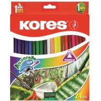 Pastelky Kores Akuarelle, akvarelové trojhranné, 24 ks