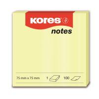 Samolepící bloček Kores 75x75mm 100 listů žlutý