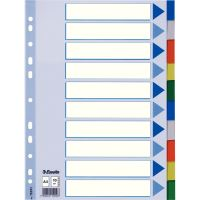 Barevné rozlišovače Esselte A4, plast, 10 dílů, mix barev