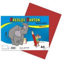 Kreslící karton A4, 180g, červený, 50 listů