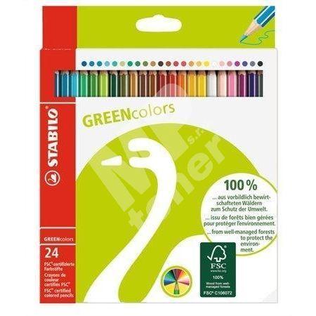 Barevné pastelky GreenColours, 24ks, šestihranné, STABILO 1