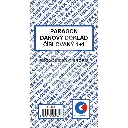 Paragon daňový doklad 1+1 číslovaný, 50 listů, ET012 1
