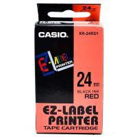 Páska do tiskárny štítků Casio XR-24RD1 24mm černý tisk/červený podklad originál