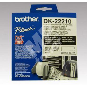 Role papírová Brother 29mm x 30.48m, bílá, 1 ks, DK22210, pro tiskárny štítků 1