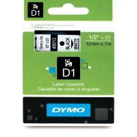 Páska Dymo D1 12mm x 7m, černý tisk/bílý podklad, 45013, S0720530
