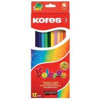 Pastelky Kores Kolores 93312 Trojhranné 12 barev s ořezávátkem