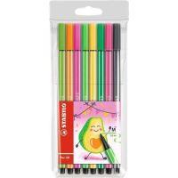 Sada fixů STABILO Pen 68 Living Colors, 8 různých barev, Avokádo, 1 mm