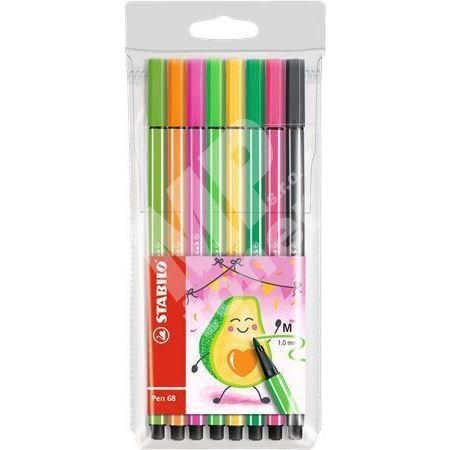 Sada fixů Pen 68 Living Colors, 8 různých barev, Avokádo, 1 mm, STABILO 1