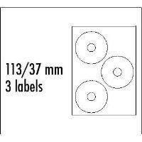 Etikety na CD 113/37 mm, A4, lesklé, bílé, 3 etikety, 210g/m2, baleno po 10ks, ink tisk