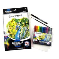 Akvarelový set Centropen 9383 Aquarelle, sada 12 barev, štětec, liner