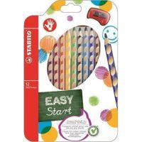 Barevná pastelka STABILO Easycolours, HB, trojhranná, pro praváky, 12ks/bal