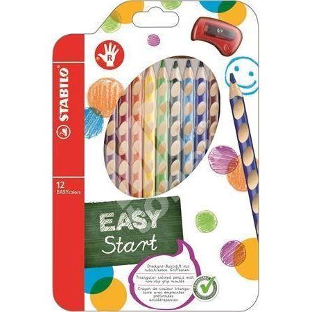 Barevná pastelka Easycolours, HB, trojhranná, pro praváky, 12ks, STABILO 1
