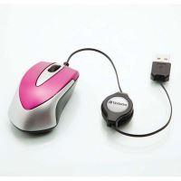 Verbatim cestovní optická myš, 1 kolečko, USB, růžová, 1000dpi 2