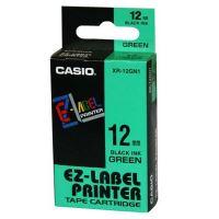 Páska do tiskárny štítků Casio XR-12GN1 12mm černý tisk/zelený podklad