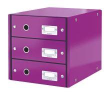 Zásuvkový archivační box Leitz Click-N-Store, 3 zásuvky, fialová
