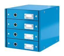 Archivační box zásuvkový Leitz Click-N-Store, 4 zásuvky, modrý