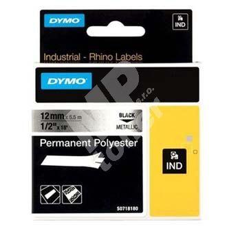 Páska Dymo 5,5m x 9mm, černý tisk/metalický podklad, 18485, S0718170 1