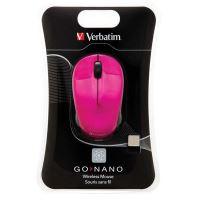 Myš Verbatim bezdrátová, 1 kolečko, USB, růžová, 1600dpi
