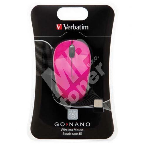 Verbatim myš bezdrátová 1 kolečko, USB, růžová, 1600dpi 1