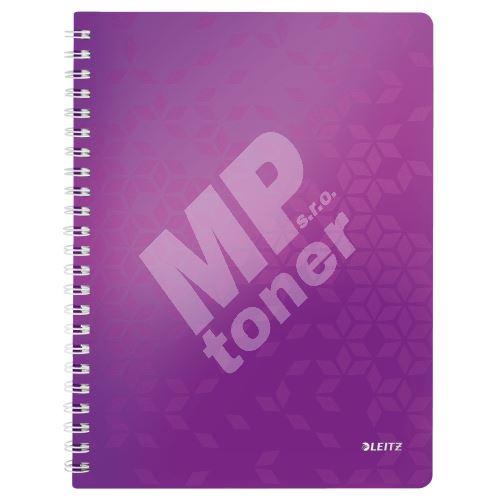 Blok na psaní Leitz WOW A4, linkovaný, drátěná vazba s PP deskami, purpurový 1