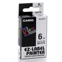 Páska do tiskárny štítků Casio XR-6WE1 6mm černý tisk/bílý podklad originál