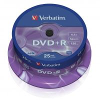 Verbatim DVD+R, DataLife PLUS, 4,7 GB, Scratch Resistant, cake box, 43500, 25-pack