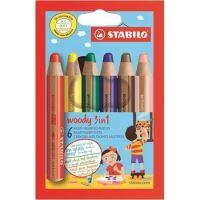 Barevné pastelky STABILO Woody, 6 barev, maxi, 3v1 – pastelky, vodovka, voskovka