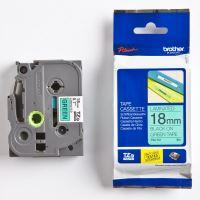 Páska do štítkovače Brother TZ-741 18mm černý tisk/zelený podklad