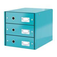 Zásuvkový archivační box Leitz Click-N-Store, 3 zásuvky, ledově modrý