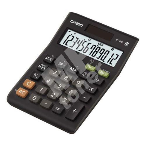 Casio kalkulačka, MS 20 B S, černá, stolní s výpočtem DPH, dvanáctimístná 1