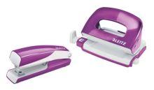 Sada mini sešívačka a děrovačka Leitz WOW, purpurová