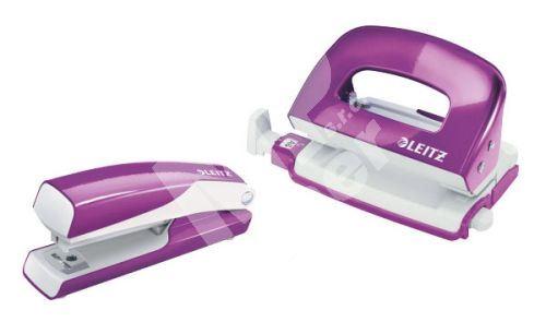 Sada mini sešívačka a děrovačka Leitz WOW, purpurová 1