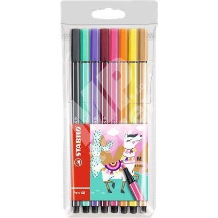 Sada fixů Pen 68 Living Colors, 8 různých barev, Lama, 1 mm, STABILO 1