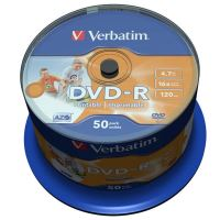 Verbatim DVD-R, DataLife PLUS, 4,7 GB, Wide Printable, cake box, 43533, 16x, 50-pack
