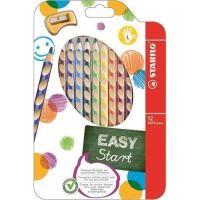 Barevná pastelka STABILO Easycolours, HB, trojhranná, pro leváky, 12ks/bal.