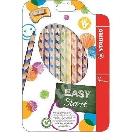 Barevná pastelka Easycolours, HB, trojhranná, pro leváky, 12ks/bal., STABILO 1
