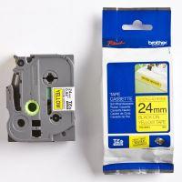 Páska do štítkovače Brother TZE-S651, 24mm, černý tisk/žlutý podklad, originál